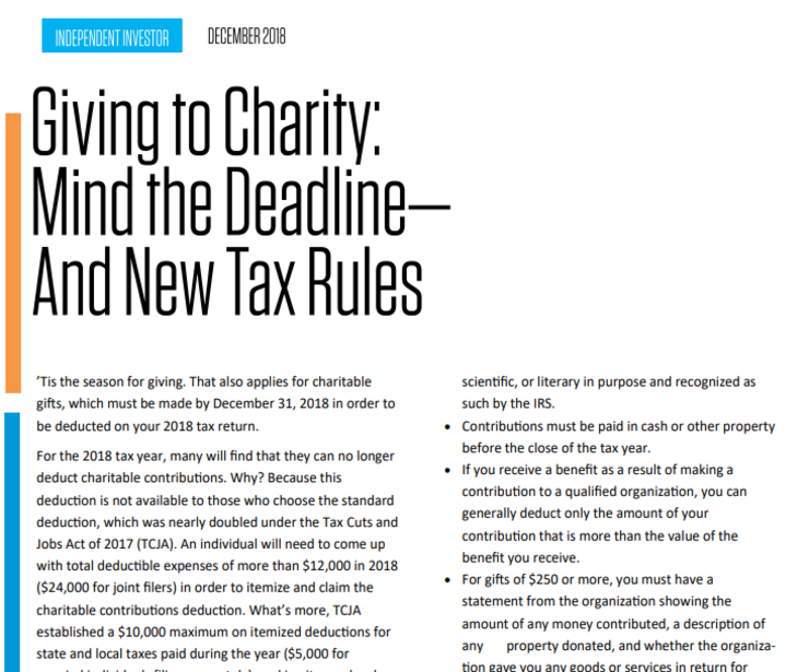 Giving to Charity: Mind the Deadline – And New Tax Rules
