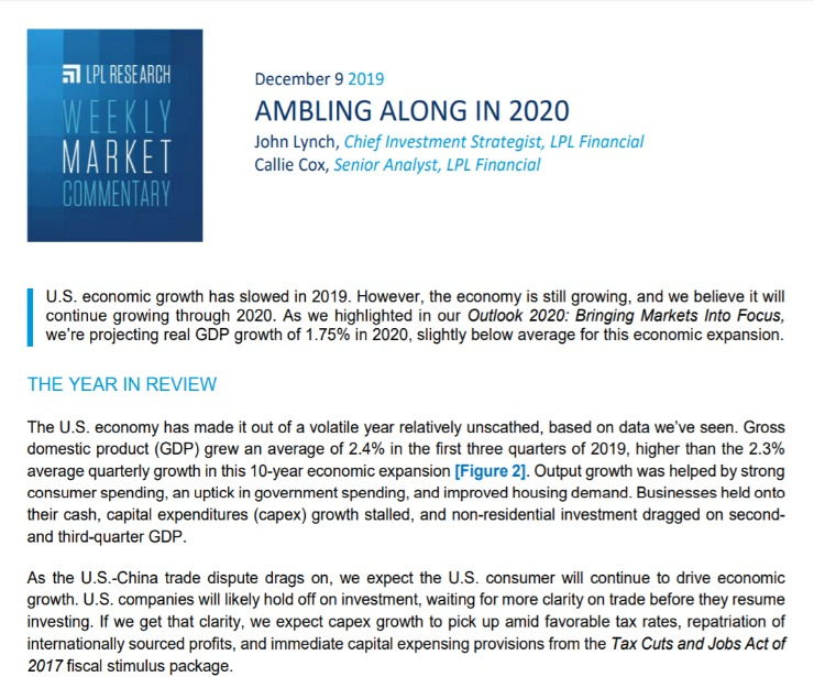 Ambling Along in 2020 | Weekly Market Commentary | December 9, 2019