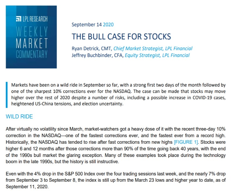 The Bull Case for Stocks | Weekly Market Commentary | September 14, 2020