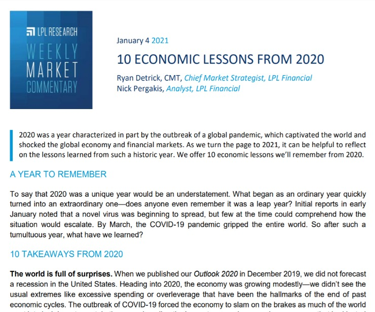 10 Economic Lessons from 2020 | Weekly Market Commentary | January 4, 2021