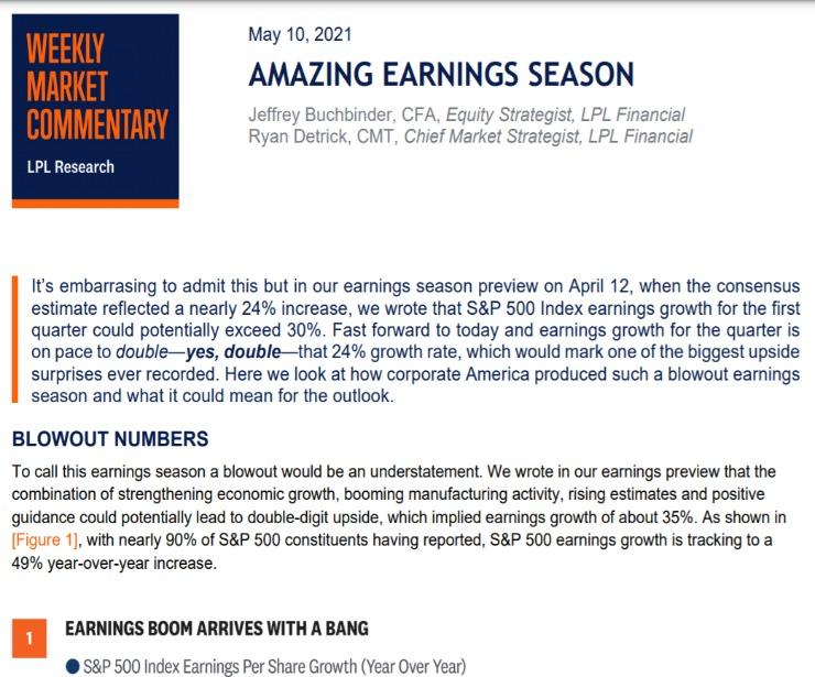 Amazing Earnings Season | Weekly Market Commentary | May 10, 2021